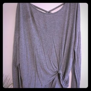 Grey Knot Top with V Back Detail